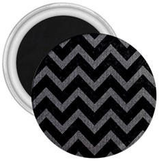 Chevron9 Black Marble & Gray Denim (r) 3  Magnets by trendistuff