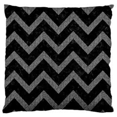 Chevron9 Black Marble & Gray Denim (r) Large Cushion Case (two Sides) by trendistuff