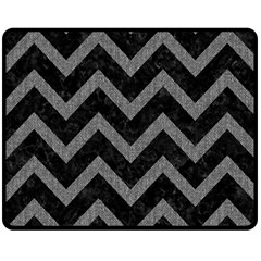 Chevron9 Black Marble & Gray Denim (r) Double Sided Fleece Blanket (medium)  by trendistuff