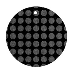 Circles1 Black Marble & Gray Denim (r) Round Ornament (two Sides) by trendistuff