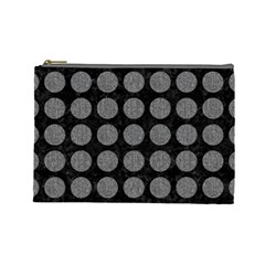 Circles1 Black Marble & Gray Denim (r) Cosmetic Bag (large)  by trendistuff