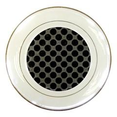 Circles2 Black Marble & Gray Denim Porcelain Plates by trendistuff