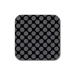 Circles2 Black Marble & Gray Denim (r) Rubber Square Coaster (4 Pack)  by trendistuff