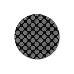 Circles2 Black Marble & Gray Denim (r) Magnet 3  (round) by trendistuff