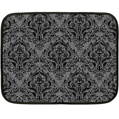 Damask1 Black Marble & Gray Denim Fleece Blanket (mini) by trendistuff