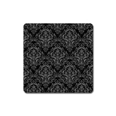 Damask1 Black Marble & Gray Denim (r) Square Magnet by trendistuff