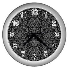 Damask2 Black Marble & Gray Denim (r) Wall Clocks (silver)  by trendistuff