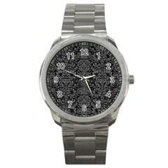 Damask2 Black Marble & Gray Denim (r) Sport Metal Watch by trendistuff