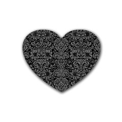 Damask2 Black Marble & Gray Denim (r) Heart Coaster (4 Pack)