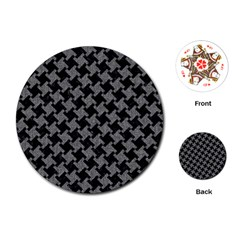Houndstooth2 Black Marble & Gray Denim Playing Cards (round)  by trendistuff