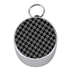 Houndstooth2 Black Marble & Gray Denim Mini Silver Compasses by trendistuff
