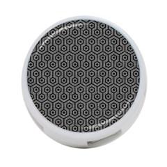Hexagon1 Black Marble & Gray Denim 4 Port Usb Hub (one Side)