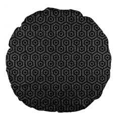 Hexagon1 Black Marble & Gray Denim Large 18  Premium Flano Round Cushions by trendistuff