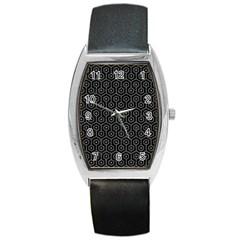 Hexagon1 Black Marble & Gray Denim (r) Barrel Style Metal Watch by trendistuff
