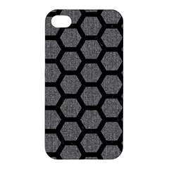Hexagon2 Black Marble & Gray Denim Apple Iphone 4/4s Premium Hardshell Case by trendistuff
