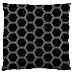 Hexagon2 Black Marble & Gray Denim (r) Large Flano Cushion Case (two Sides) by trendistuff