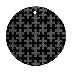 Puzzle1 Black Marble & Gray Denim Ornament (round) by trendistuff