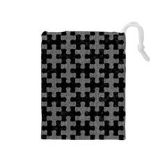 Puzzle1 Black Marble & Gray Denim Drawstring Pouches (medium)  by trendistuff
