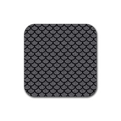 Scales1 Black Marble & Gray Denim Rubber Square Coaster (4 Pack)  by trendistuff