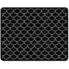 Scales1 Black Marble & Gray Denim (r) Fleece Blanket (medium)  by trendistuff