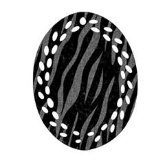 Skin3 Black Marble & Gray Denim (r) Oval Filigree Ornament (two Sides) by trendistuff