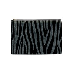 Skin4 Black Marble & Gray Denim Cosmetic Bag (medium)  by trendistuff
