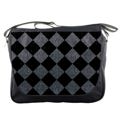 Square2 Black Marble & Gray Denim Messenger Bags by trendistuff