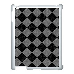Square2 Black Marble & Gray Denim Apple Ipad 3/4 Case (white) by trendistuff