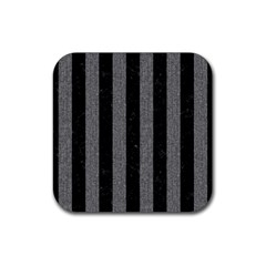 Stripes1 Black Marble & Gray Denim Rubber Square Coaster (4 Pack)  by trendistuff