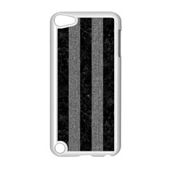 Stripes1 Black Marble & Gray Denim Apple Ipod Touch 5 Case (white) by trendistuff