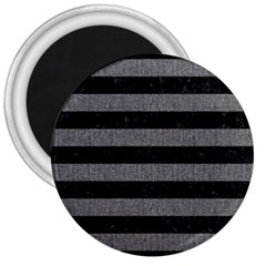 Stripes2 Black Marble & Gray Denim 3  Magnets by trendistuff