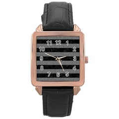 Stripes2 Black Marble & Gray Denim Rose Gold Leather Watch  by trendistuff
