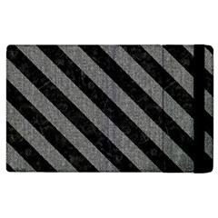 Stripes3 Black Marble & Gray Denim Apple Ipad 3/4 Flip Case by trendistuff