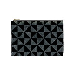 Triangle1 Black Marble & Gray Denim Cosmetic Bag (medium)  by trendistuff