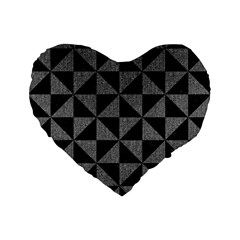 Triangle1 Black Marble & Gray Denim Standard 16  Premium Flano Heart Shape Cushions by trendistuff