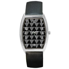 Triangle2 Black Marble & Gray Denim Barrel Style Metal Watch by trendistuff