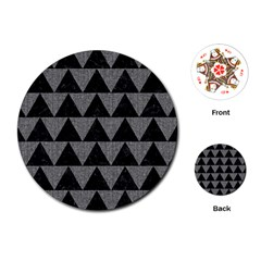 Triangle2 Black Marble & Gray Denim Playing Cards (round)  by trendistuff