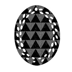 Triangle2 Black Marble & Gray Denim Oval Filigree Ornament (two Sides) by trendistuff