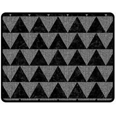 Triangle2 Black Marble & Gray Denim Double Sided Fleece Blanket (medium)  by trendistuff