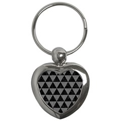 Triangle3 Black Marble & Gray Denim Key Chains (heart)  by trendistuff
