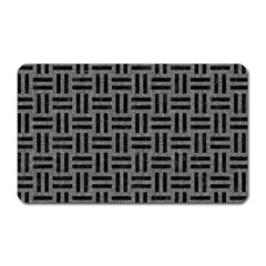 Woven1 Black Marble & Gray Denim Magnet (rectangular) by trendistuff