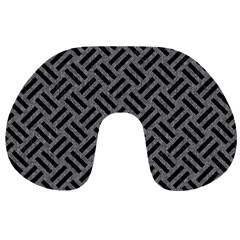 Woven2 Black Marble & Gray Denim Travel Neck Pillows by trendistuff