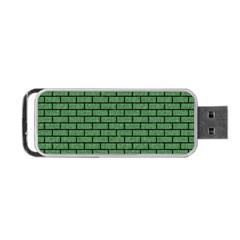 Brick1 Black Marble & Green Denim Portable Usb Flash (two Sides) by trendistuff