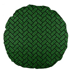 Brick2 Black Marble & Green Denim Large 18  Premium Flano Round Cushions by trendistuff