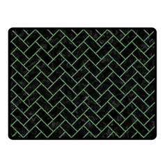 Brick2 Black Marble & Green Denim (r) Fleece Blanket (small) by trendistuff
