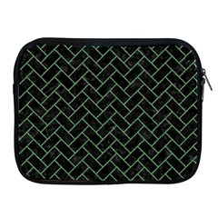 Brick2 Black Marble & Green Denim (r) Apple Ipad 2/3/4 Zipper Cases by trendistuff