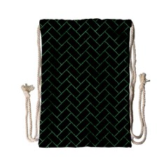Brick2 Black Marble & Green Denim (r) Drawstring Bag (small) by trendistuff