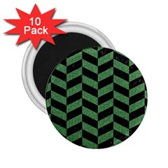 Chevron1 Black Marble & Green Denim 2 25  Magnets (10 Pack)  by trendistuff