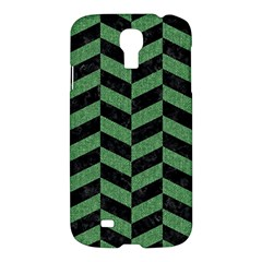 Chevron1 Black Marble & Green Denim Samsung Galaxy S4 I9500/i9505 Hardshell Case by trendistuff