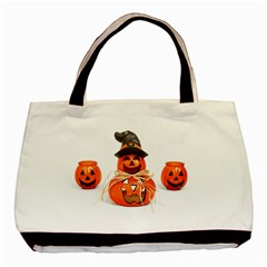 Funny Halloween Pumpkins Basic Tote Bag by gothicandhalloweenstore